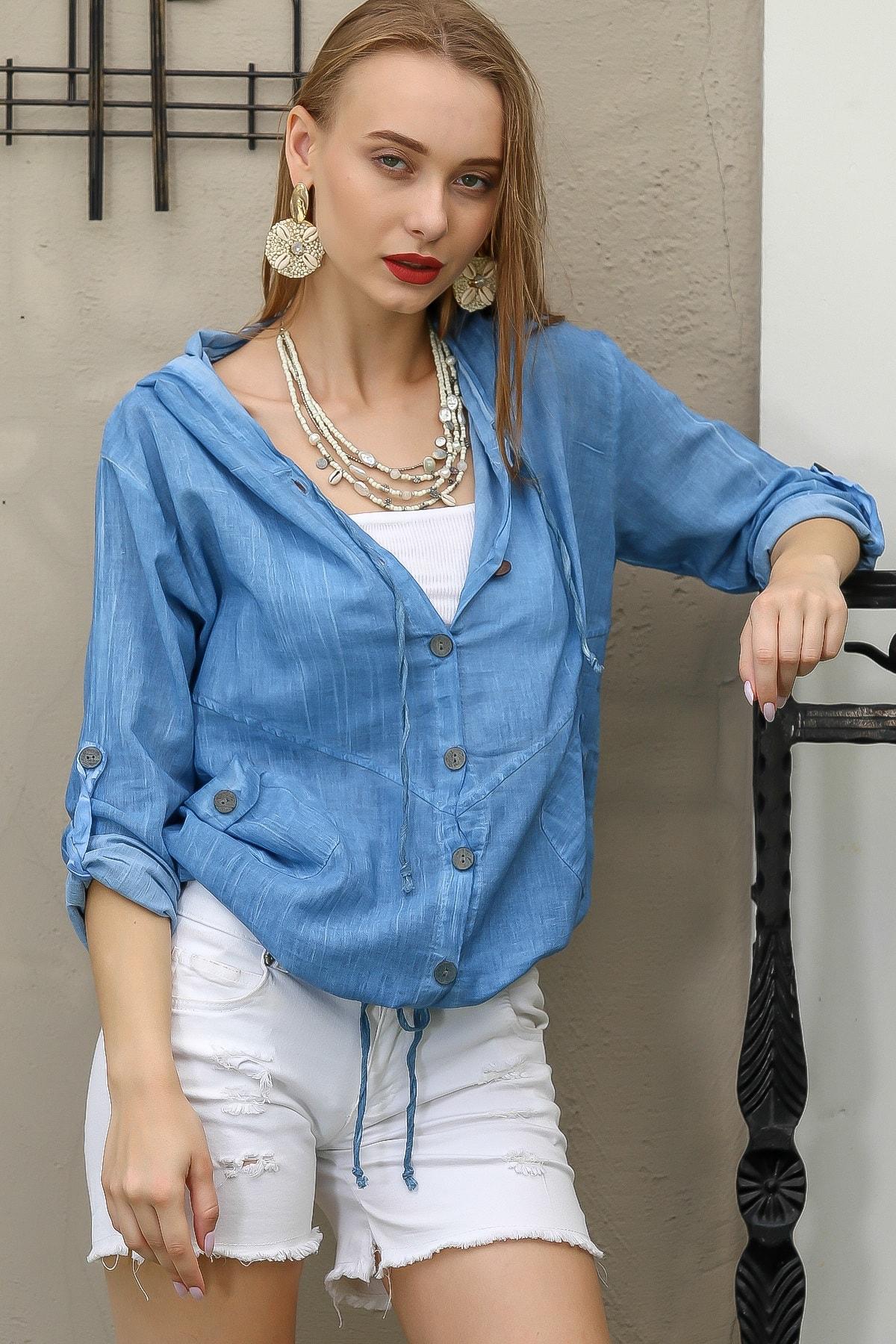 Chiccy Kadın Mavi Casual Kapüşonlu Düğmeli Beli Ip Detaylı Büzgülü Yıkmalı Ceket M10210100Ce99339 1