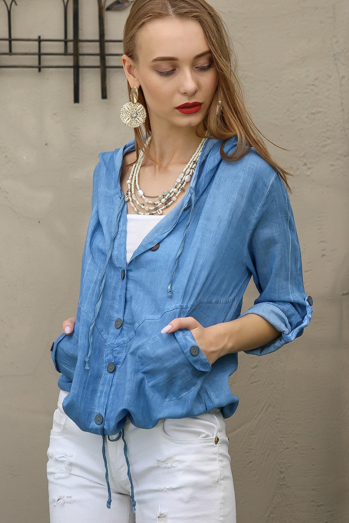 Chiccy Kadın Mavi Casual Kapüşonlu Düğmeli Beli Ip Detaylı Büzgülü Yıkmalı Ceket M10210100Ce99339 2