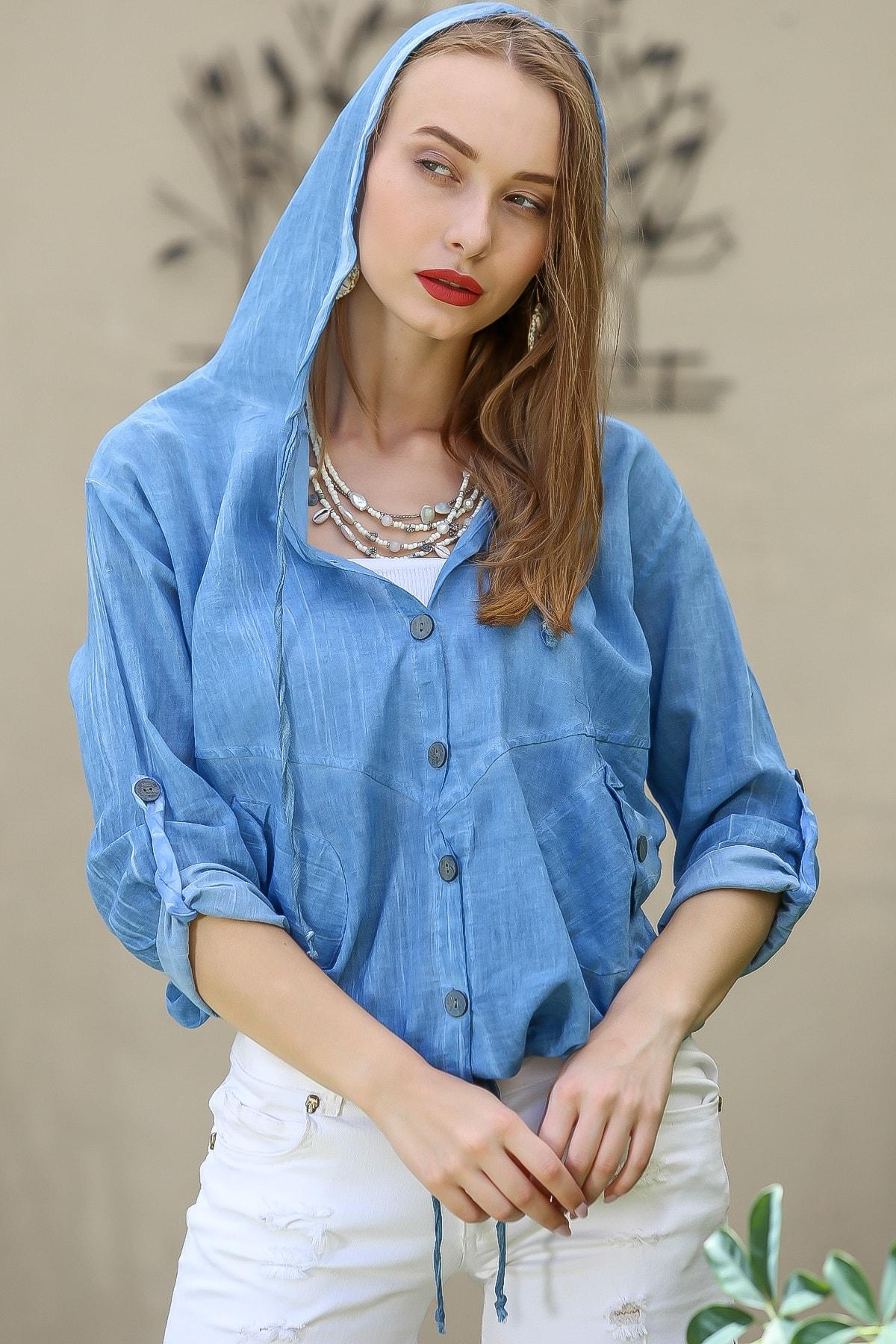 Chiccy Kadın Mavi Casual Kapüşonlu Düğmeli Beli Ip Detaylı Büzgülü Yıkmalı Ceket M10210100Ce99339 3
