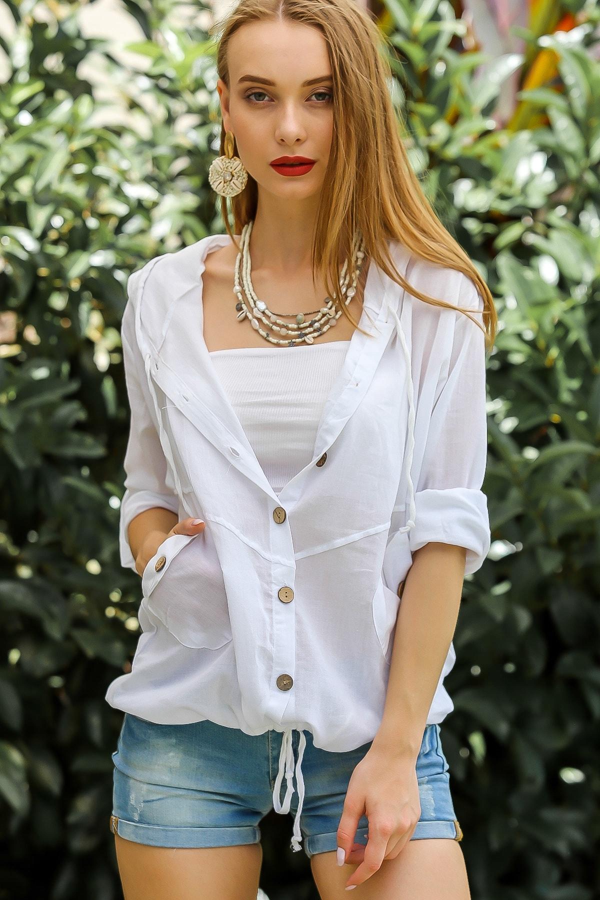 Chiccy Kadın Beyaz Casual Kapüşonlu Düğmeli Beli Ip Detaylı Büzgülü Yıkmalı Ceket M10210100Ce99339 3