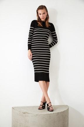 TRENDYOLMİLLA Siyah Çizgili Triko Elbise TWOAW21EL0416 1