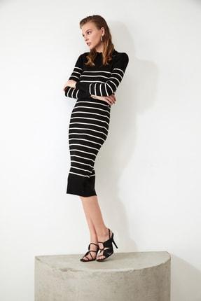 TRENDYOLMİLLA Siyah Çizgili Triko Elbise TWOAW21EL0416 2