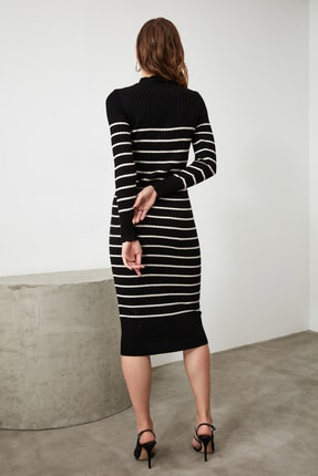 TRENDYOLMİLLA Siyah Çizgili Triko Elbise TWOAW21EL0416 4