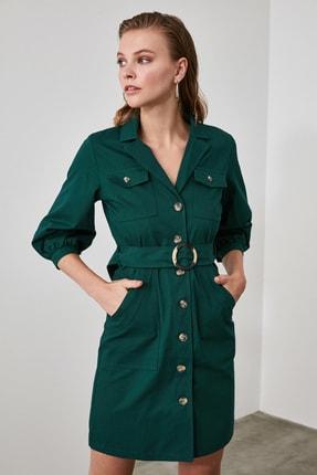 TRENDYOLMİLLA Haki Kemerli Gömlek Elbise TWOAW20EL1156 0