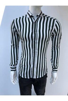 JİYAN Erkek Siyah Beyaz Çizgili Uzun Kollu Gömlek 0