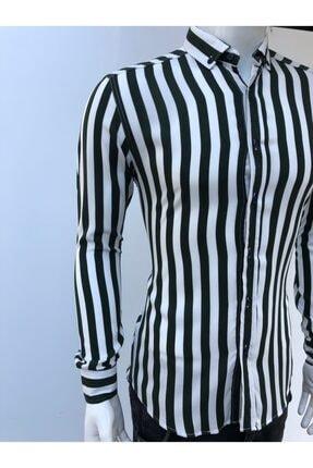 JİYAN Erkek Siyah Beyaz Çizgili Uzun Kollu Gömlek 2