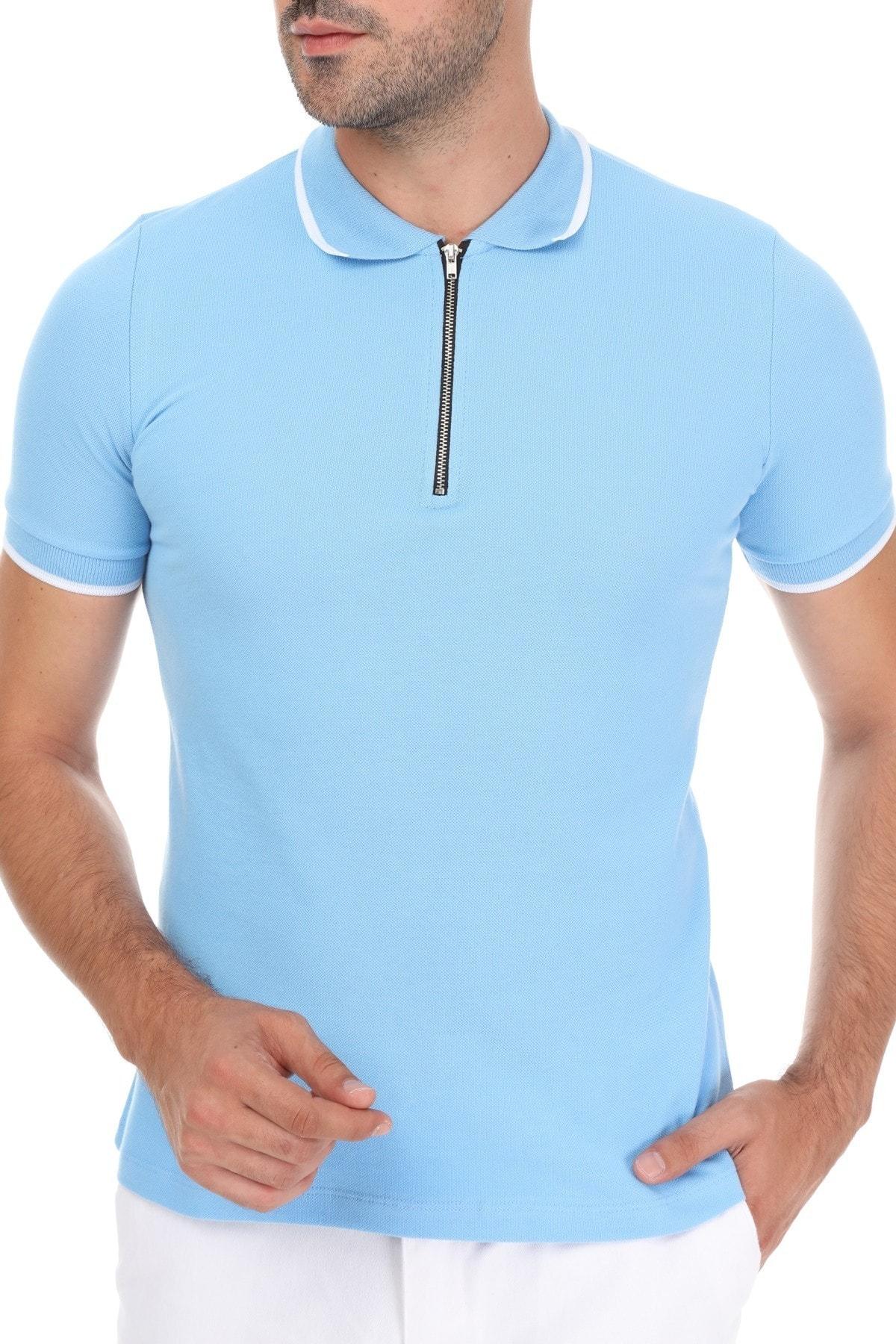 Erkek Mavi Fermuarlı Yaka Çizgili Polo Yaka T-shirt