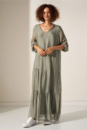 Camena V Yaka Ipek Elbise 2019070500197 0