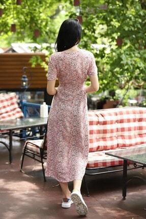 TEORA FASHION Çıtır Desen Düğme Detay Kuşaklı Viskon Elbise 2
