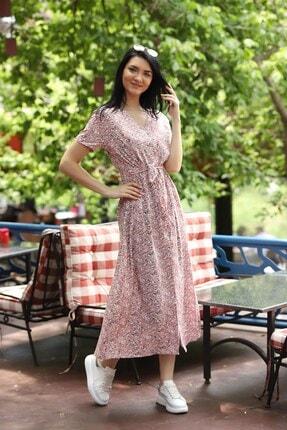 TEORA FASHION Çıtır Desen Düğme Detay Kuşaklı Viskon Elbise 3