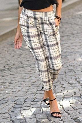 Womenice Kadın Bej Krem Ekose Beli Lastikli Pantolon 1
