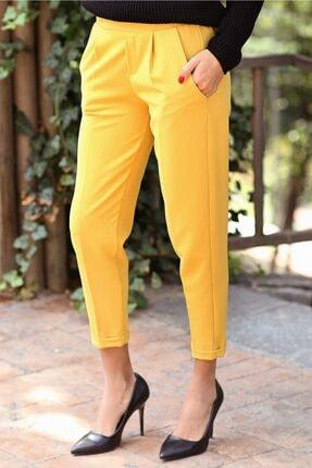Womenice Kadın Sarı Beli Lastikli Duble Paça Pantolon 1