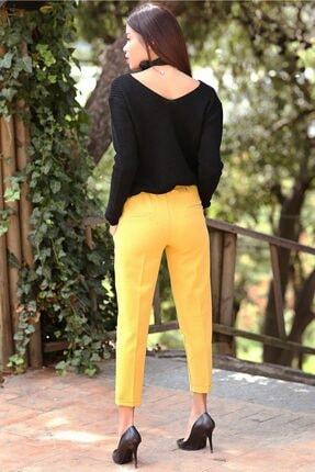 Womenice Kadın Sarı Beli Lastikli Duble Paça Pantolon 2