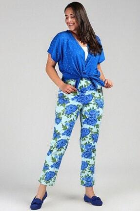 Womenice Kadın Mint Büyük Beden  Beli Lastikli Cepsiz Çiçekli Pantolon 1