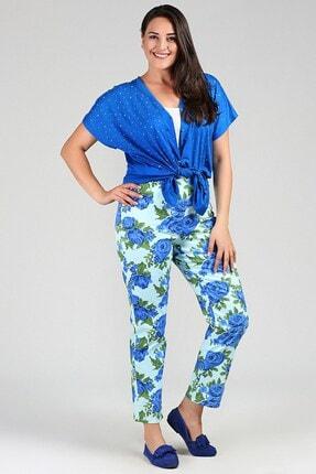 Womenice Kadın Mint Büyük Beden  Beli Lastikli Cepsiz Çiçekli Pantolon 2