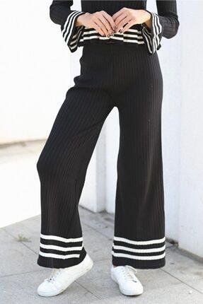 Womenice Kadın Siyah Çizgili Triko Pantolon 1