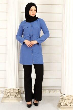 ModaKardelen Kadın İndigo Mavisi Belden Bağlamalı Gömlek 0