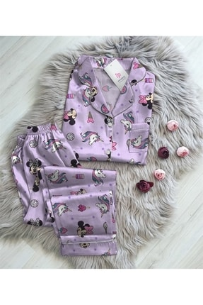 Pembishomewear Kadın Mor Mickey Mouse Saten  Kruvaze Gömlek Pijama Takımı 0