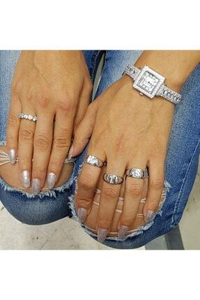 kimtakarseni 925 Ayar Gümüş - Kare Kasa Pırlanta Roma Dizayn Zirkon Taşlı Ithal Bayan Saati (20,00 Cm) 1