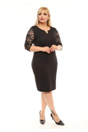FİDAN TEKSTİL Kadın Siyah Büyük Beden V Broş Detay Abiye Elbise 2