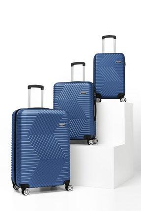 SERAMİKCİ Polo Mavi 3'lü Valiz Set 4
