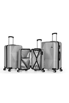 SERAMİKCİ Gümüş 3'lü Valiz Set 1