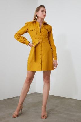 TRENDYOLMİLLA Hardal Kemerli Gömlek Elbise TWOAW21EL0181 1