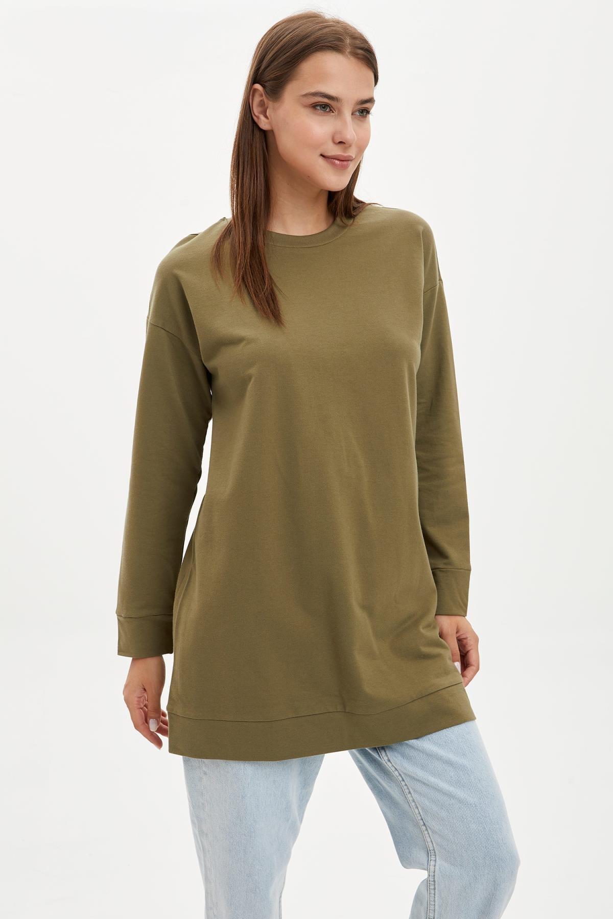 DeFacto Kadın Modest Khakı Relax Fit Basic Pamuklu Sweat Tunik M8670AZ20SP 0