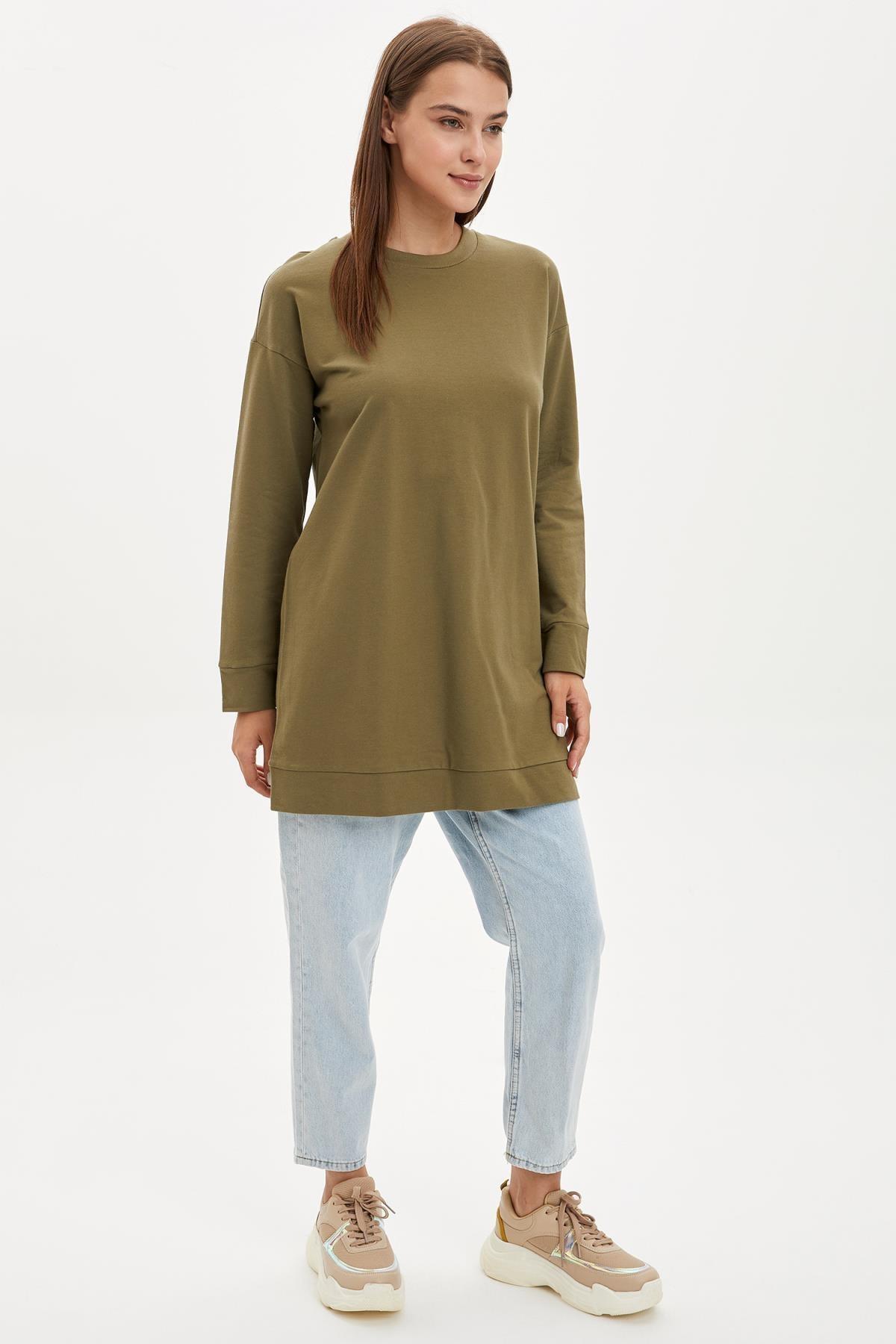 DeFacto Kadın Modest Khakı Relax Fit Basic Pamuklu Sweat Tunik M8670AZ20SP 1
