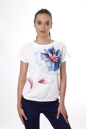 Cliche Kadın Beyaz Çiçek Desenli Eteği Lastikli Kısa Kollu Bluz 0