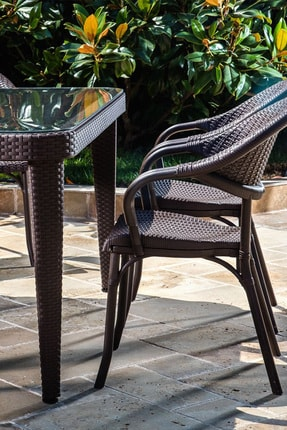 Tilia Flash 90*150 6 Kişilik Bahçe Masa Takımı -bahçe Balkon Teras Camlı Masa Takımı*kahve Rengi* 4