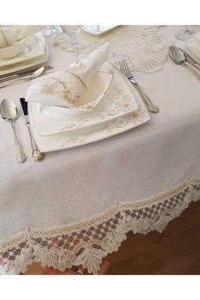 Çt Çeyizci Tekstil Aşiyan 12 Kişilik 26 Parça Fransız Dantelli Masa Örtüsü Yemek Takımı - Krem 3