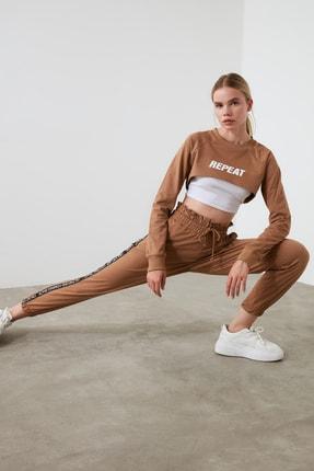 TRENDYOLMİLLA Camel Paperbag Spor Eşofman Altı TWOAW21EA0029 2
