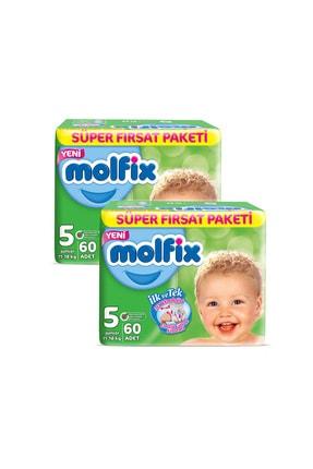 Molfix Bebek Bezi 5 Beden Junior Aylık Fırsat Paketi 120 Adet + Evony Maske 10'lu Hediyeli 1