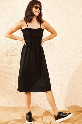 Bianco Lucci Kadın Siyah Gipeli İp Askılı Midi Boy Elbise 0