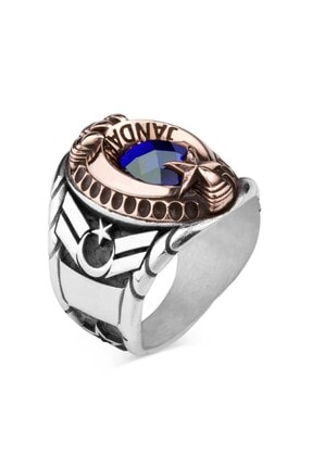 Anı Yüzük Mavi Taşlı Pençeli Jandarma Uzman Çavuş Yüzüğü 2