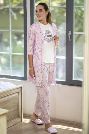 Ecrou Kadın Pembe Çiçek Desenli Penye 5 Li Pijama 0