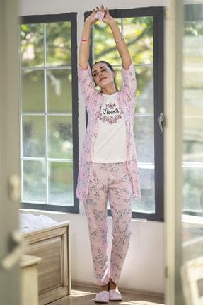 Ecrou Kadın Pembe Çiçek Desenli Penye 5 Li Pijama 1