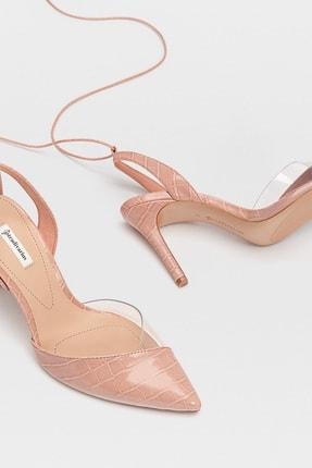 Stradivarius Kadın Pembe Vinil Detaylı, Bilekten Bağlamalı Ve Topuklu Ayakkabı 19157570 3