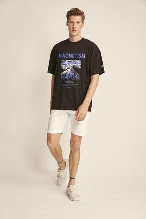 GRIMELANGE MADDOX Siyah Erkek Basic On Beden Baskili Bol Kesim T-shirt 1