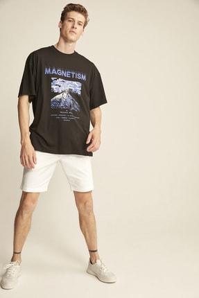 GRIMELANGE MADDOX Siyah Erkek Basic On Beden Baskili Bol Kesim T-shirt 2