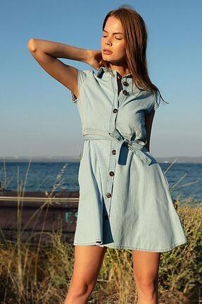 Pattaya Kadın Açık Mavi Kuşaklı Kısa Kollu Kot Elbise PTTY20S-9677 2