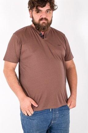 MY LIFE Erkek Kahverengi Düğme Detaylı V Yaka Büyük Beden T-Shirt Tws2559 0