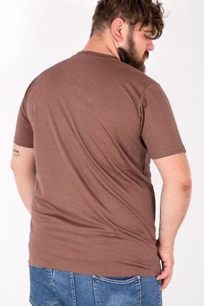 MY LIFE Erkek Kahverengi Düğme Detaylı V Yaka Büyük Beden T-Shirt Tws2559 2