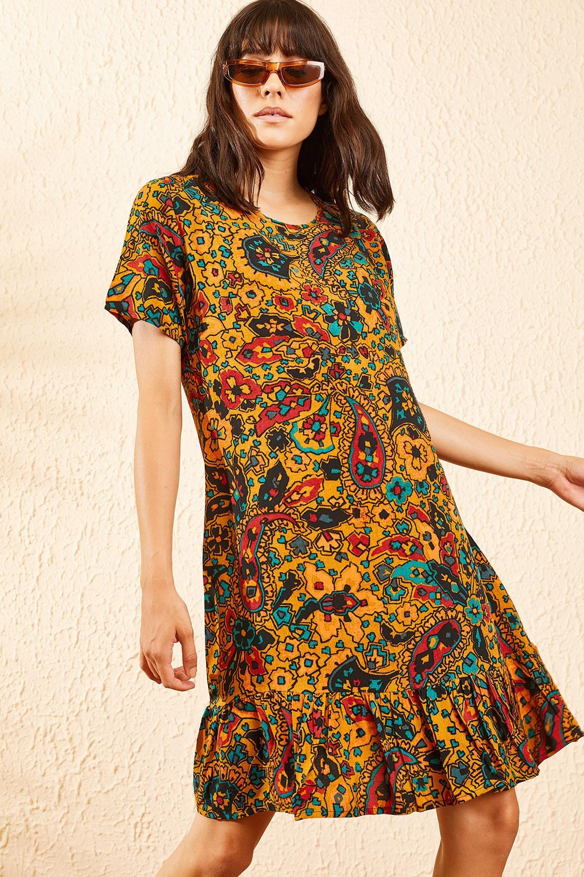 Bianco Lucci Kadın Hardal Kadın Etnik Desen Kısa Kollu Eteği Fırfırlı Elbise 10101017 1