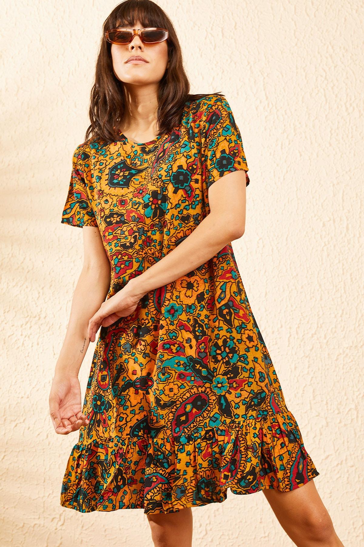 Bianco Lucci Kadın Hardal Kadın Etnik Desen Kısa Kollu Eteği Fırfırlı Elbise 10101017 3