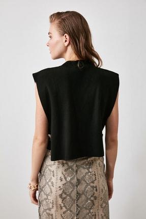 TRENDYOLMİLLA Siyah Yanı Bant Detaylı Triko Süveter Bluz TWOAW20BZ0929 3