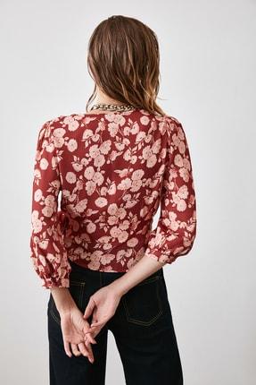 TRENDYOLMİLLA Kiremit Bağlamalı Çiçekli Bluz TWOAW21BZ0278 2