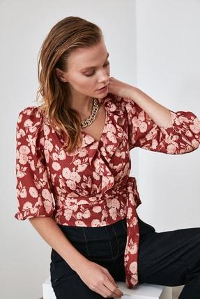 TRENDYOLMİLLA Kiremit Bağlamalı Çiçekli Bluz TWOAW21BZ0278 3