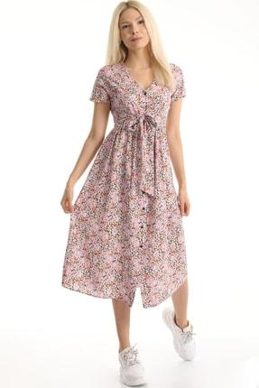 MD trend Kadın Pembe Çiçek Desenli Kuşaklı Gömlek Elbise Mdt6795 0